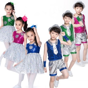 Green pink blue Children's jazz dance costumes girl's children boy hip-hop performances of modern  dance clothing