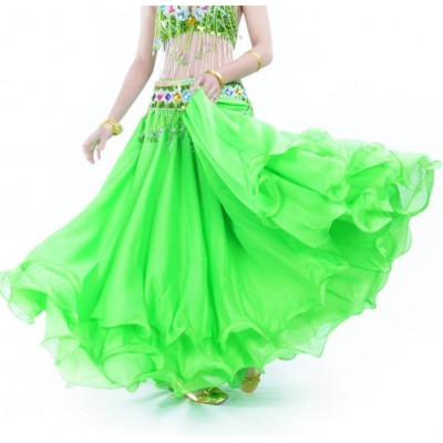 Green purple red blue belly dance clothes  Leafroll double slit ear chiffon Belly Dancing skirt for women belly dance costumes