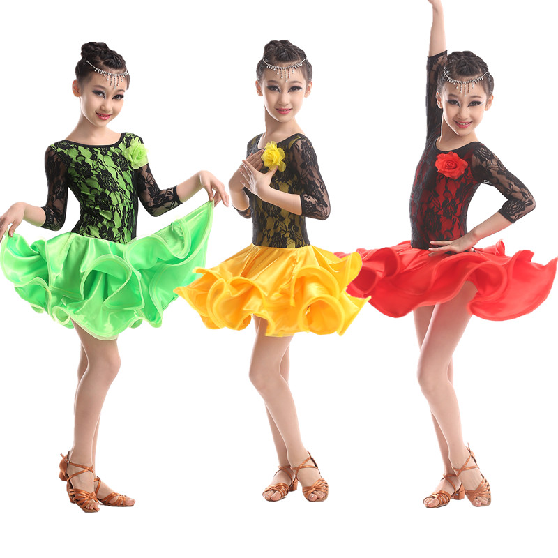 Green red Latin Dance Dress For Girls Long Sleeve Kids Cha Cha Rumba Samba 15e7fcd84c28