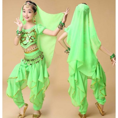 Green red yellow fuchsia Handmade Children Belly Dance Costumes Kids Belly Dancing Girls Bollywood Indian Performance dance Cloth Dresses