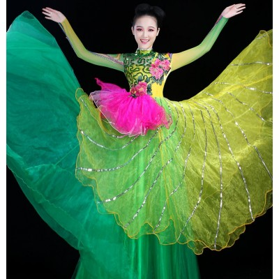 Green sequined flowers rose hot pink patchwork fashion competition fairy stage performance women's female flamenco party dancing long dresses