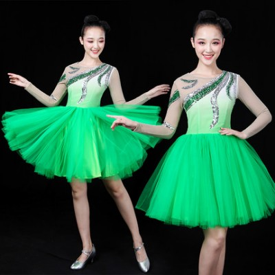 Green turquoise fairy Women party cosplay Modern Dance Stage Performance Costume Chorus costumes Opening Dance Ballroom Dance Competition Dresses