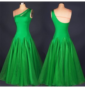Green white fuchsia one shoulder backless competition performance girl's women's tango waltz ballroom dance dresses