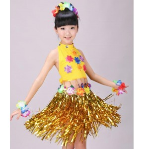 Hawaiian Grass Skirt Kit Hula Mini Skirt /top Party Dress Costume Event & Party Supplies Gift for Girls Belly Dance Skirt