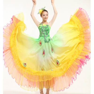 Hmong  flamenco rainbow Sequined Pavaner Costume  Peacock Dance Big Expansion Skirt Modern Classical Performance Wear dresses