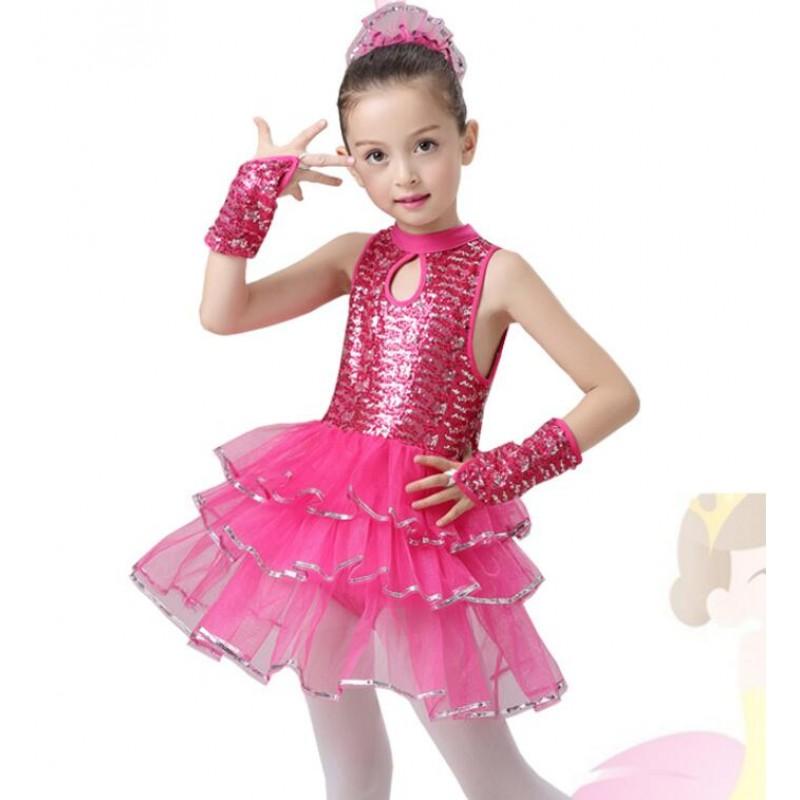 dd563b9c95e4 Hot Pink blue Sweet Girl  s kids children Sequin Tutu Dress Tap Jazz ...