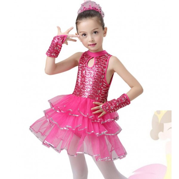 9bec82e23 Children Jazz Performance Dresses Tutu Sequins Ballet Dress Kids Modern  Dancing Costumes Party stage Dresses For Girls Outfits