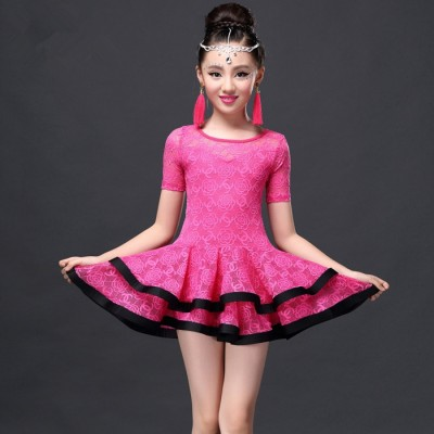 hot pink Latin Dance Dress Children Girls Ballroom Dance Dresses Girl Samba Dress Modern Dance Costumes For Kids Club Dresses