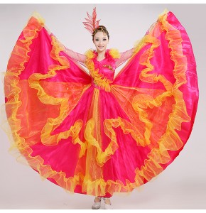 Hot pink red dance costume flamenco Spanish bull dance dress expansion skirts stage costumes