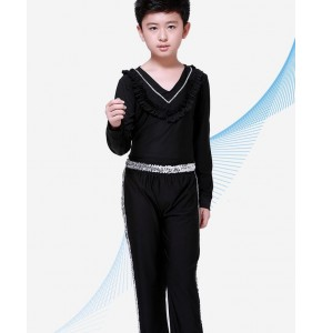 Hot Sale Boy Latin Dancewear Ruffly Blue White Black Ballroom Stage Modern Boys Latin Dance Costumes Clothes set