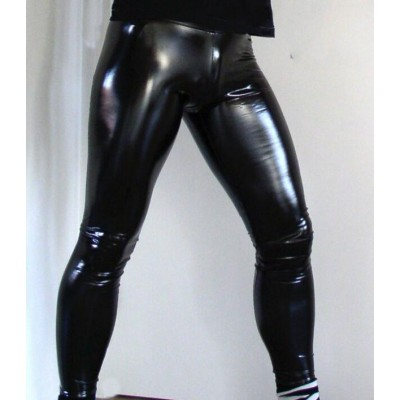 Hot Sexy Men PVC Stage Dance Wear Faux Leather Pencil Pants Skinny Pants Legging Gay Club Dance Wear