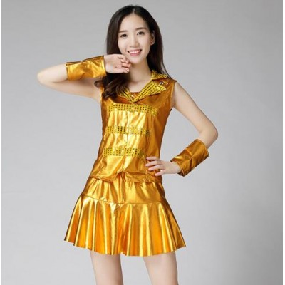 Jazz dance outfits for women girls stage performance gold silver fuchsia red paillette cheer leaders singers team dancers dresses