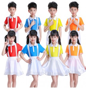 Kids cheerleaders jazz dance outfits school uniforms singers chorus performance exercises cosplay dancing costume