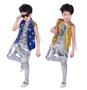 Kids Children Hip Hop Clothing Jazz Hip-hop Drum Dance Costume Boy Drummer singers Modern Hip Hop Shirt Jacket Pants Clothing