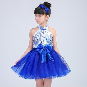 Kids Chinese ancient folk dance costumes for girls china style blue and white drama traditional dance cosplay performance dresses