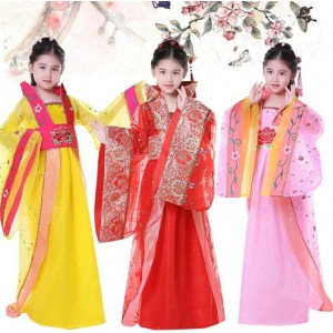 Kids Chinese folk dance costumes anime fairy cosplay  ancient tang princess traditional dance photos stage performance dresses
