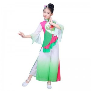 Kids Chinese folk dance costumes for girls green gradient stage performance fairy traditional yangko dance dresses