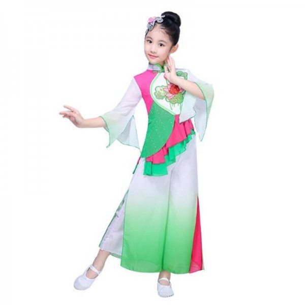 Kids Chinese folk dance costumes for girls green gradient stage performance fairy traditional yangko dance dresses  sc 1 st  Wholesaledancedress.com & Kids Chinese folk dance costumes for girls green gradient stage ...
