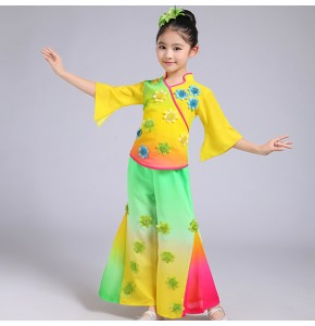 Kids Chinese folk dance costumes for girls rainbow colored fan performance traditional ancient dancing dresses