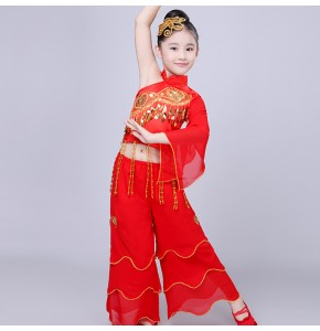 Kids Chinese folk dance costumes red white performance cosplay photos film drama traditional yangko dance dress