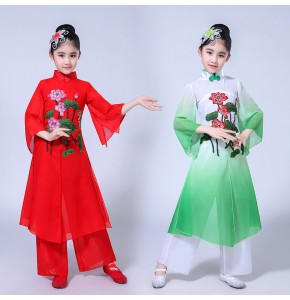 Kids  Chinese folk dance dresses fairy stage performance cosplay traditional red green fairy photos cosplay dancing costumes