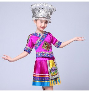 Kids Chinese hmong folk dance costumes for girls stage performance hmong miao international ancient traditional dancing dress