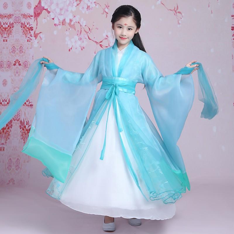 edbd432b0 Kids fairy film cosplay girls dance costumes turquoise china folk dance  princess hanfu ancient traditional Chinese