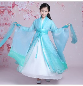 Kids fairy film cosplay girls dance costumes turquoise china folk dance princess hanfu ancient traditional Chinese folk dance robes dresses