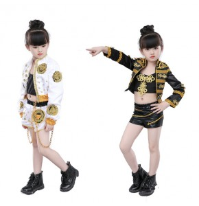 kids hiphop dance outfits for children girls white black modern dance show competition stage performance jazz dancing costumes