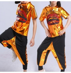 Kids hiphop jazz dance outfits gold boys girls modern dance street dance stage performance competition team dancers tops and harem pants