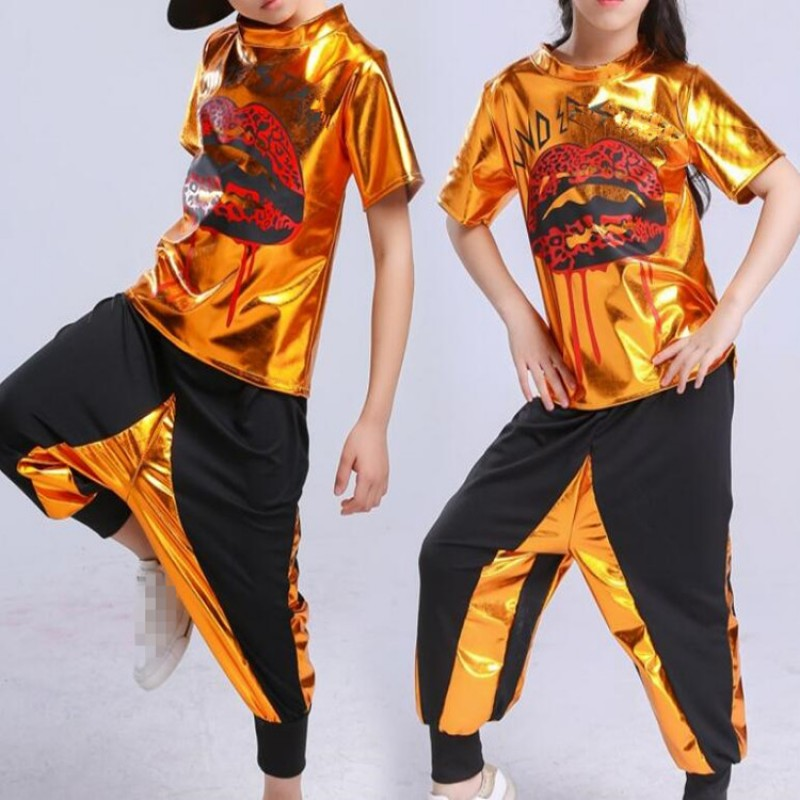 Kids Hiphop Jazz Dance Outfits Gold Boys Girls Modern Dance Street Dance Stage Performance Competition Team Dancers Tops And Harem Pants Material Microfiber And Spandex And Pu Leather Stretc