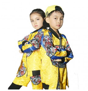 Kids hiphop street dance costumes modern dance show performance china dragon style competition photos cosplay costumes
