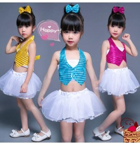 Kids jazz dance costumes blue red pink sequined girls boys school performance singers cheer leaders cosplay competition outfits