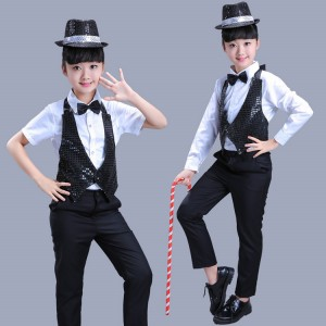 Kids jazz dance costumes for boys  girls black and white magician singers dancers hiphop street dance school show competition costumes