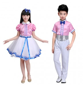 Kids jazz dance costumes for girls boys school s competition chorus singers dancers uniforms party cosplay modern dance costumes outfits