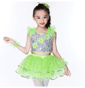 Kids jazz dance costumes for girls boys silver neon green performance paillette competition hiphop singers dancers outfits
