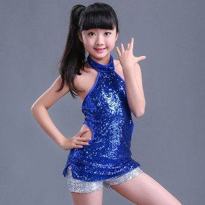 Kids jazz dance costumes hiphop street singers dancers blue sequined modern dance  cheerleader performance costumes