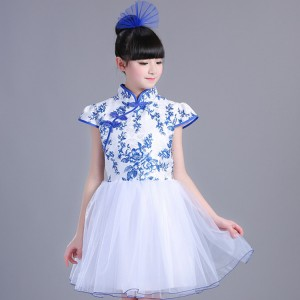 Kids jazz dance costumes modern dance boys girls singers dancers chorus blue and white  show recite school competition performance dresses