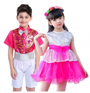 Kids Jazz dance costumes pink boys girls modern dance singers dancer photos cosplay ballet dancing  performance competition dresses