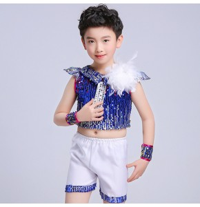 kids jazz dance costumes royal blue silver paillette modern dance street performance school competition outfits