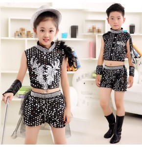 Kids jazz dance costumes street dance boys girls black blue sequined hiphop dancers singers performance outfits