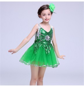 Kids jazz dance dress for girl's sequined stage performance singers chorus school celebration modern dance dresses