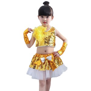 Kids jazz dance dress modern dance sequin paillette princess singers school competition rehearsal performance dresses