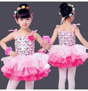 Kids jazz dance dress princesses  flower girls modern dance singers host ballet dancing costumes