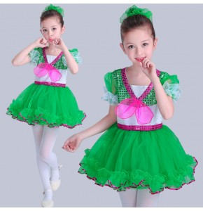 Kids jazz dance dresses girls pailletter modern dance stage performance singers school cosplay video ballet dancing dresses costumes