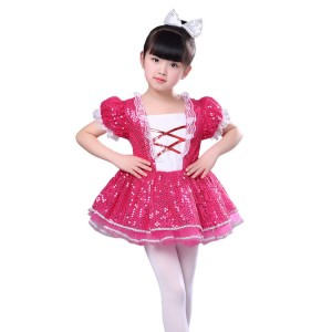 Kids jazz dance dresses pink for girls children stage show performance sequined modern dance singers ds dresses outfits
