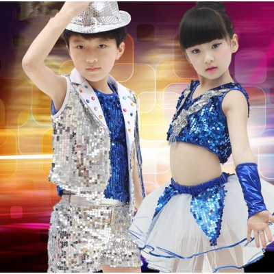 Kids Jazz dance Outfit Clothing Child Boy Sequin Hip Hop/Modern Dance Costume Sexy Jazz Dance Costumes Dress For Girls