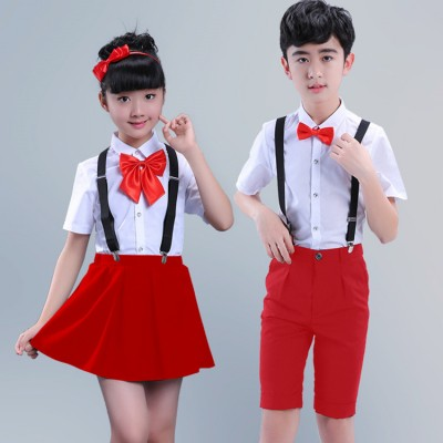 Kids jazz dance outfits for girls boys red white school competition chorus recite show party performance costumes