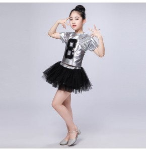 Kids jazz dance street modern dance hiphop stage performance outfits silver black boys girls school show cosplay costumes