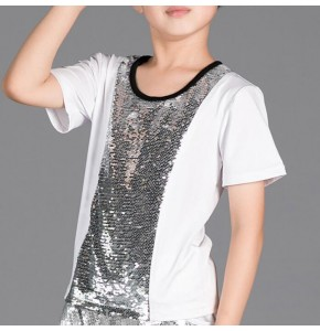 Kids jazz dance t shirt short sleeves boys modern dance hiphop street performance  drummer show team dancer competition tops